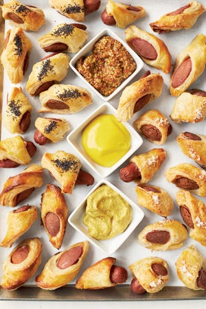 """Pigs and Blankets from Martha Stewart's """"Appetizers"""" cookbook (Clarkston Potter, 2015)."""